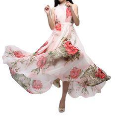 Abody Summer Women Chiffon Maxi Dress Floral Print Sleeveless Cocktail Evening Party Dress Red