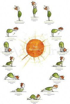 Forward bending, warrior pose, mountain pose, plank - Sun with Yoga Poster. Time to get back into yoga Yoga Inspiration, Fitness Inspiration, Yoga Salutation Au Soleil, Sun Salutation Sequence, Moon Salutation, Yoga Meditation, Yoga Flow, Vipassana Meditation, Yoga Fitness