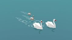 Low Poly Swans on Behance