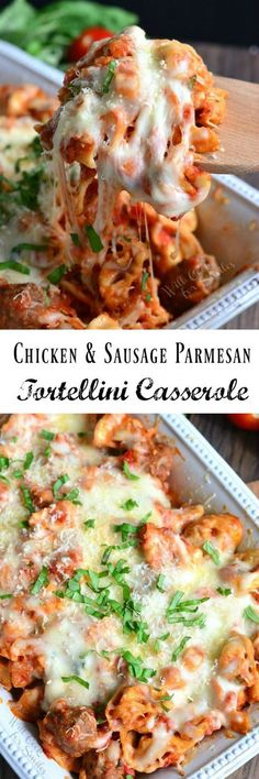 Chicken and Sausage Parmesan Tortellini Casserole ~ delicious, gooey, CHEESY casserole dish made with chicken and sausage, tortellini pasta, and FOUR kinds of cheese!