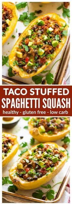 Healthy Taco Spaghetti Squash Boats with Cheese, Ground Turkey, and Black Beans. Easy, filling, and low carb! Great for busy families. Everyone loves this recipe! {gluten free} (recipes with ground turkey) Taco Spaghetti, Turkey Spaghetti, Spaghetti Squash Boat, Courge Spaghetti, Stuffed Spaghetti Squash, Healthy Spaghetti Squash Recipes, Mexican Spaghetti, Pasta Recipes, Spagettie Squash Recipes