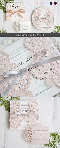 elegant custom laser cut wedding invitations