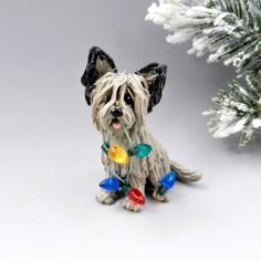Skye Terrier Noël ornement Figurine lampes par TheMagicSleigh
