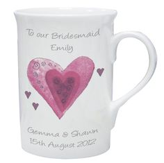 Personalised Hearts Occasion Mug Valentines Day gift or thank you gift ideas