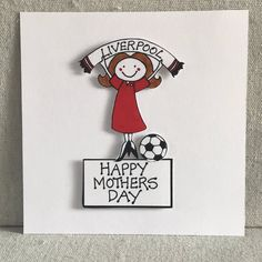 Personalised with name and age. Card for women, mum, wife, Liverpool Fc Gifts, Crystal Palace Football, Happy Birthday Name, Personalized Football, Football Birthday, All Team, Handmade Birthday Cards, Handmade Items, Handmade Gifts