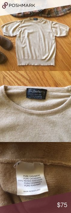 "🎀 TODAY ONLY! $39 - Burberry Cashmere Sweater Sm! RARE & Authentic! Burberry Vintage 100% Pure Cashmere, Light Brown, Short-Sleeve Sweater in Misses Size S. Made in Scotland. In amazing condition! No holes, snags, pulls, etc. Bust (underarm-to-underarm) measures approx. 36 inches. Sleeve length 9 inches (from top of sleeve area), and total length is 21 inches. Note: The Burberry name switched to ""Burberrys"" but switched back to ""Burberry."" Type of label on this sweater is visible on vintage…"