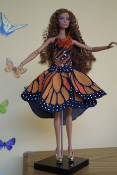 Artisan Doll Gown; Butterfly Gown Hand Painted, Velcro Close: Fits Fashion Doll, Free Shipping