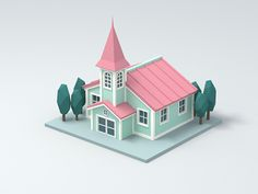 Church designed by oumomo. Connect with them on Dribbble; the global community for designers and creative professionals. Isometric Art, Isometric Design, Game Ui Design, 3d Design, Fruits Basket Cosplay, Low Poly Games, Low Poly Models, Bubble Art, Church Design