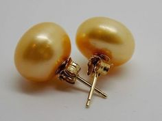 11mm-Golden-colored-Freshwater-Pearl-Pierced-Earrings-14k-Large-Size-Studs-027