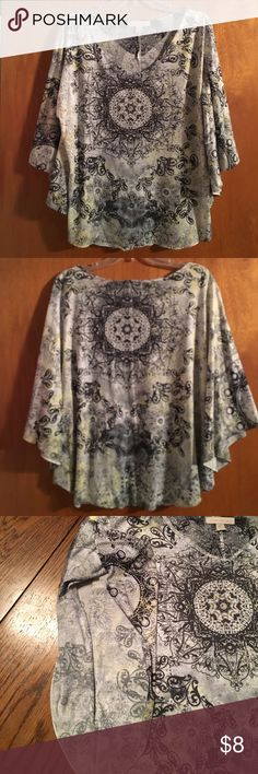 Beautiful woman's top Very pretty gently used top, sleeves are scalloped down the sides of the shirt, smoke free home, 💯 polyester Laura Ashley Tops Blouses