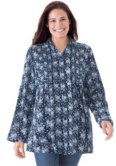 7377b0044a9b9 Plus Size Tunic top with button-tab convertible sleeves Plus Size Shirts