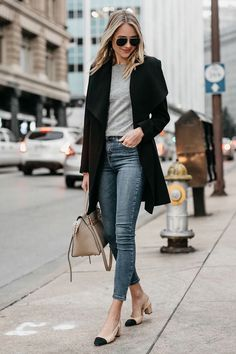 Just Pinned to Pin Board: Blonde Woman Wearing Black Wrap Coat Grey Sweater Denim Skinny Jeans Chanel Slingbacks Celine MIni Belt Bag Fashi. Fashion Blogger Style, Fashion Mode, Look Fashion, Street Fashion, Trendy Fashion, Autumn Fashion, Fashion Ideas, Ladies Fashion, Trendy Style
