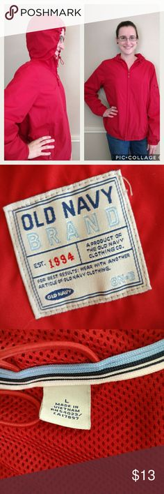 Old Navy windbreaker jacket with hoodie Red Old Navy windbreaker jacket with hoodie. Has an elastic around the hood, zips up the front, and has a cute zipper pocket on the arm. Old Navy Jackets & Coats Utility Jackets