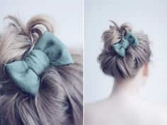 A blue bow for the top knot/messy bun :) Love new spins on that look