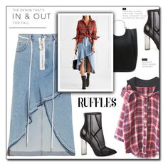 """Ruffled Denim Skirt!"" by faten-m-h ❤ liked on Polyvore featuring Off-White, Steve Madden, 10 Crosby Derek Lam, Boots, ruffles, plaidshirt, polyvoreeditorial and denimskirts"