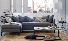 Blue couch would be a great offset with the kitchen splashback.  Rug looks nice with the rest of the current house...