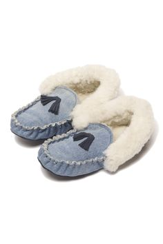 Recycled Denim & Shearling Slippers