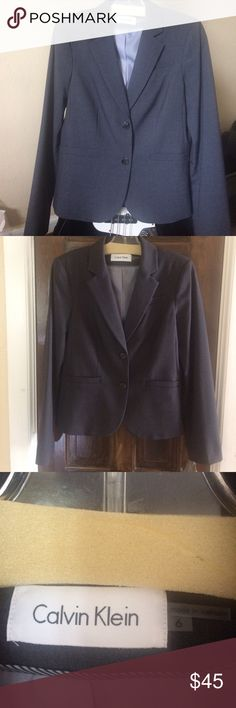 "NWOT Calvin Klein blazer size 6 NWOT gorgeous gray Calvin Klein blazer. Measurements:  Shoulder to cuff 24"", Length 23"", chest 16"" buttoned. Size 6. Fully lined. Purchased in September 2017 Calvin Klein Jackets & Coats Blazers"