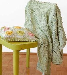 Vintage Popcorn Stitch Blanket   This elegant green blanket features the crochet popcorn stitch with a vintage twist.