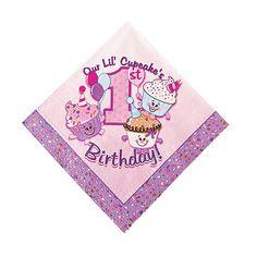 1st Birthday Cupcake Luncheon Napkins - OrientalTrading.com
