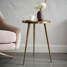 Antique Brass Tripod Side Table