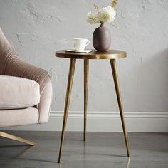 Antique Brass Tripod Side Table