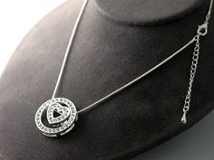 STUNNING CRYSTAL HEART CIRCLE SLIDE NECKLACE RHODIUM ADJUSTABLE SNAKE CHAIN QUALITY!!!