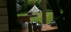 Glamping kitchen and tent, Coppice Woodland, Guilden Gate Bell Tent Glamping, Canopy And Stars, Gypsy Caravan, Britain, Woodland, Gate, England, Places, Kitchen