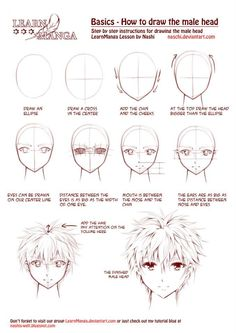 Learn Manga: How to draw the male head front by Naschi on DeviantArt