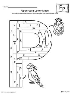 Uppercase Letter P Maze Worksheet Worksheet.If you are looking for creative ways to help your preschooler or kindergartener to practice identifying the letters of the alphabet, the Uppercase Letter Maze is the perfect activity. Letter P Worksheets, Letter P Activities, Maze Worksheet, English Worksheets For Kids, Letter P Crafts, Community Helpers Worksheets, Letter Maze, P Words, Labyrinth