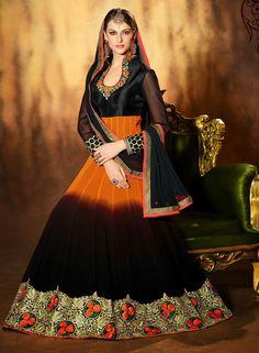 Orange & Black wedding wear long anarkali salwar kameez A15538.  IRS. 4986,- unstiched: 14-Feb-2015  stitched: 19-Feb-2015