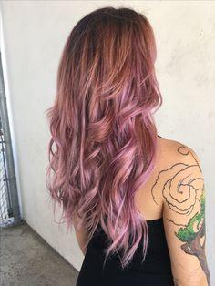 Pink hair, mermaid hair, unicorn hair, pastel pink hair, extensions, dusty rose gold hair, balayage hair Instagram: @hairbyjayleen