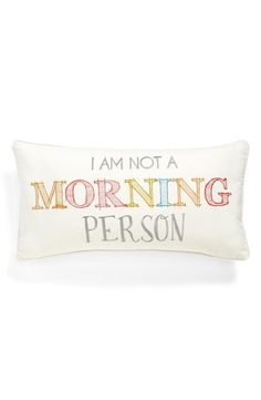 This cute, colorful throw pillow spells it out perfectly.