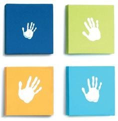 Nursery decor just got more hands on with this handprint wall set! Comes with Tempera for the family to make handprints on each of the four vibrant canvasses.