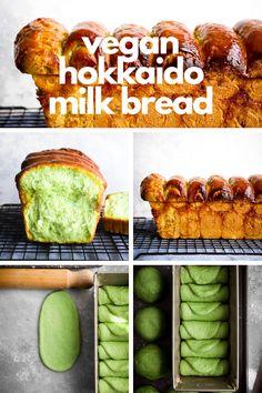 The ultimate Vegan Pandan Hokkaido Milk Bread recipe with a tender-but-chewy texture. Vegan Baking, Bread Baking, Hokkaido Milk Bread, Milk Bread Recipe, Vegetarian Recipes, Cooking Recipes, Vegan Milk, Bread Bun, Vegan Bread