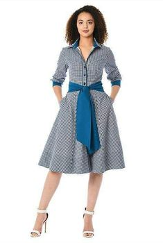 Our gingham check cotton shirtdress is cinched in with a removable contrast sash tie belt and tailored to fit at the princess seamed bodice and flare from the high seamed waist to the full skirt. Dress Outfits, Casual Dresses, Fashion Dresses, Maxi Dresses, Evening Dresses, Cotton Shirt Dress, Cotton Dresses, Dress Indian Style, African Traditional Dresses