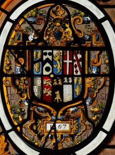Detail from the large armorial window in the Despencer chapel at Mereworth Castle, arms of Fane, 1567