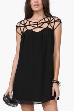 Black Sexy Weave Design Hollow Out Straps Details Mini Dress