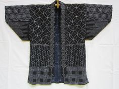 Jacket, stitched with various Sashiko patterns.