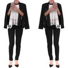 Top - $33 Halter Lace Top Jacket - $62  Drape Front Blazer with Zipper Detail