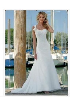 If I could pull this off! Body Fitted Sheath  Chiffon One-shoulder+Sweetheart Wedding Dress