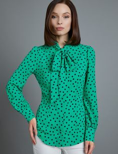 414da23cdfe4a3 Women's Green & Navy Spot Print Fitted Blouse - Single Cuff - Pussy Bow    Hawes