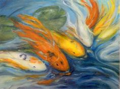 """Oil on canvas, 12"""" x 16"""". Colorful Koi take us to our """"happy place"""" it seems.  I was in a joyful space when painting these guys."""