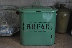 Have one to sell? Sell it yourself vintage kitchenalia enamel pea green bread bin