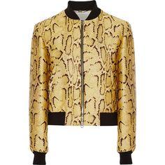 Stella McCartney Metallic snake-jacquard jacket ($1,905) ❤ liked on Polyvore featuring outerwear, jackets, metallic, stella mccartney jacket, multi color jacket, zipper jacket, metallic jacket and jacquard jacket
