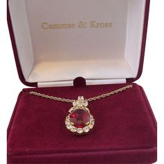Camrose & Kross Jacqueline Kennedy Red Red Colored Cz's Pendant Drop Necklace  MIB  Mint in Box