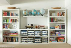 25 Creative Toy Organizer Ideas to Help Your Kids Keep the Playroom Clean kids-. 25 Creative Toy Organizer Ideas to Help Your Kids Keep the Playroom Clean kids-playroom-game-room- Playroom Design, Playroom Decor, Playroom Shelves, Playroom Layout, Ikea Cubbies, Small Playroom, Bedroom Shelves, Book Shelves, Storage For Playroom