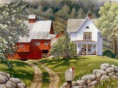 'Valley Homestead' ~ by John Sloane Country Art, Country Life, American Country, Country Living, Summer Painting, Farm Art, Old Farm Houses, Country Scenes, Naive Art