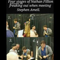 Nathan Fillion meeting Stephen Amell at #WizardWorldChicago