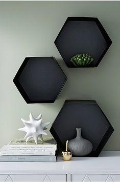 Vegghylle Hexagon, 3-pk